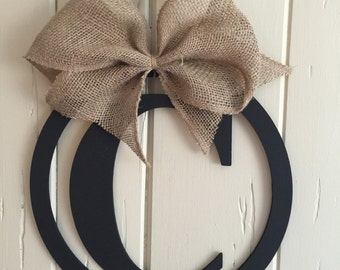 Monogrammed hanging letter wreath, wall decor, door decor, monogrammed home decor,wreath, rustic decor, housewarming gift