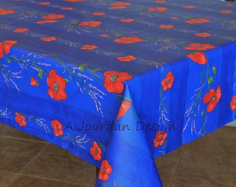 French POPPY LAVENDER BLUE Acrylic Coated Rectangle Tablecloths   French  Oilcloth Indoor Outdoor Table Cloths