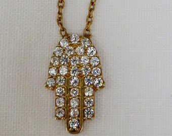 Hamsa Hand of Fatima Gold Plated Sterling Silver and Crystal Necklace