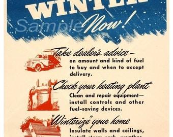 Vintage Prepare for Winter War Poster Print