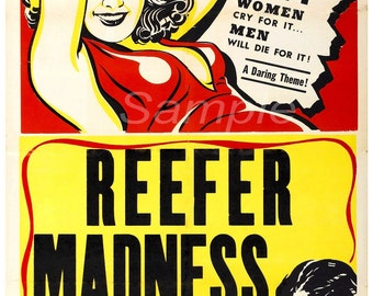 Vintage Reefer Madness Anti drugs Poster Print