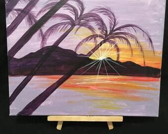 Acrylic 11 x 14 Hawaiian Sunset