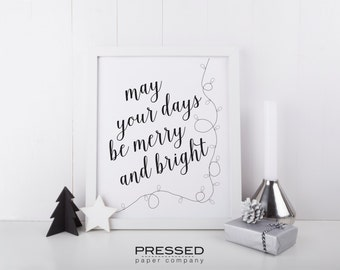 Merry And Bright Holiday Print, printable wall decor