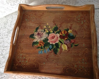 Vintage Hand Painted Wooden Tray Mid Century