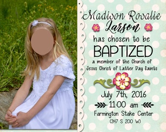 LDS Girl Baptism Invite Lace