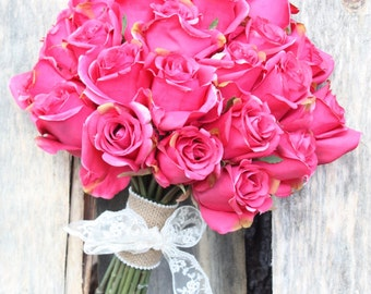 Hot pink, silk, rose bridal bouquet