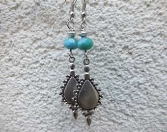 Boho Earrings Bohemian silver Earrings ethnic ornate Turquoise Dangle Earrings