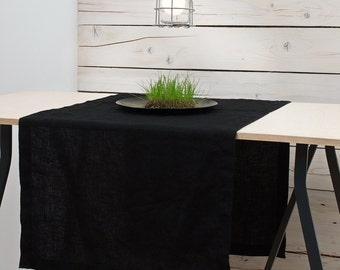 Linen Table Runner Black Flax Stone Washed Softened Handmade Linen Table Runners Crumpled Linen Natural Flax - Rustic Wedding