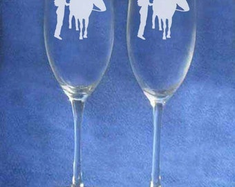 Western Cowboy Cowgirl wedding toasting glasses personalized
