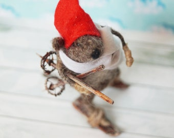 Mouse-skier - felted mouse