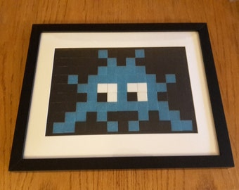 Framed Space Invader Street Art Mosaic