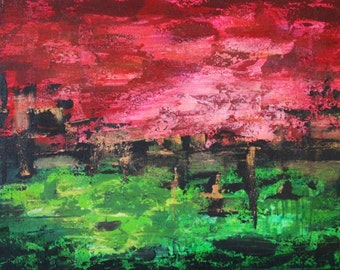 Abstract red green-gold - acrylic on canvas - 40 x 60 cm