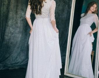 "Wedding dress ""Chiffon Waves""   White ivory grey chiffon silk lace 3\4 sleeve boat neckline a-line beach boho bridal gown"