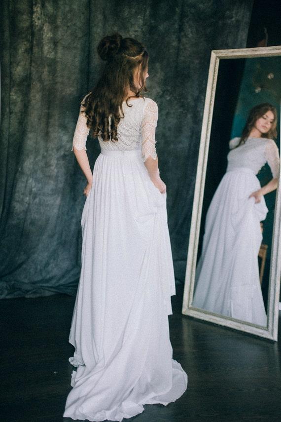 Wedding Dress Chiffon Waves Light Ivory Grey