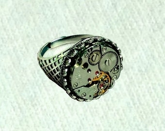 Steampunk Mens Rings Sterling Silver Steampunk Souvenirs Watch Movement Fashion Art  Silver Jewelry Ring Size Adjustable