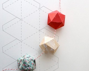 Geometric Ball Pattern | 2 PDF Files (A3 - A4) - Instant download