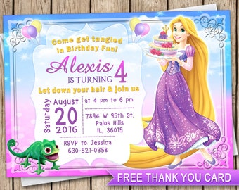 Disney birthday party invitation cards image inspiration of cake invitation tangled disney princess birthday invitation card invite 6 bookmarktalkfo Image collections