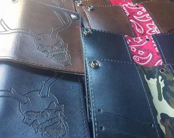 """Custom designed leather 6"""" biker wallet"""