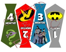 Monthly Batman baby tie stickers or Iron-ons