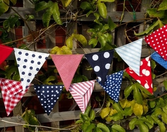 Bunting, flags, garland or banner for bedroom, garden, birthday Modern red white and blue