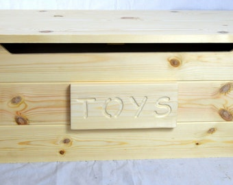 Solid Pine Personalised Wooden ToyBox Natural Knotty Pine Child Safe Lid stay #Large