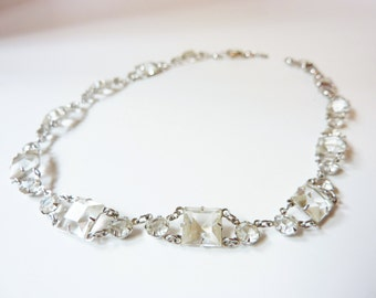Vintage 1940s Silver Crystal Choker Necklace