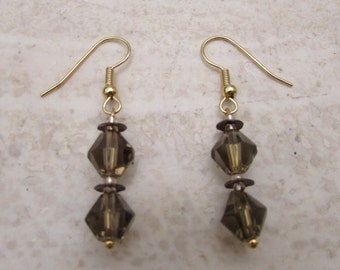 Champagne bicone glass bead earrings