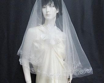 Bridal Veil;Elbow Length Veil;Embroidery Veil ;French Organza Veil ;Woman Wedding Accessories;Bridesmaid Veil#1w