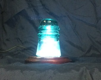 Antique Glass Insulator Lamp Art