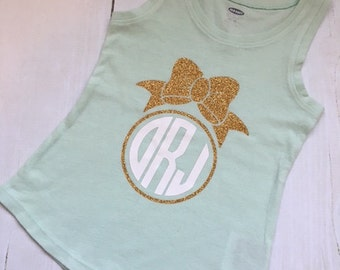 Mint Monogrammed Bow Tank Top