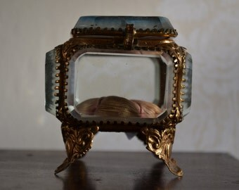 Antique French jewelry box with beveled glass, souvenir from Paris, France