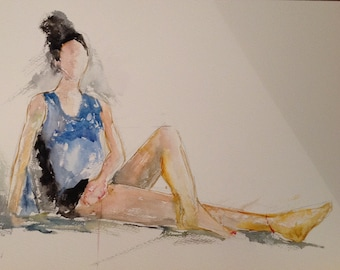 giclee reproduction of original watercolour of girl in blue t shirt