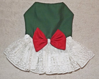 Red & Green Party Pet Dress