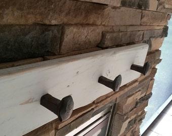 3 foot Railroad spike coat rack mud room hanger 5 spikes