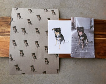Personalised Pet Wrapping Paper, Custom Pet Paper, Dog Wrapping Paper, Personalised Pet Gift Wrap with Hand Drawn Pet Portrait, A3- 3 sheets