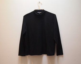 90s Black Ribbed Turtleneck Top Vintage