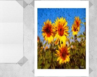 Sunflowers, Sunflower Art, Sunflower Art Print, Sunflower Decor, Sunflower Painting, Modern Home Decor, Instant Download, Digital Art Print