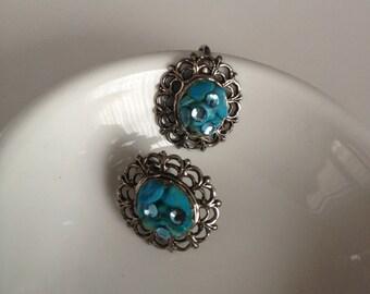 Vintage Azure Blue Stone Crystal Turquoise Retro Clip On Earrings Costume Sparkle Sky