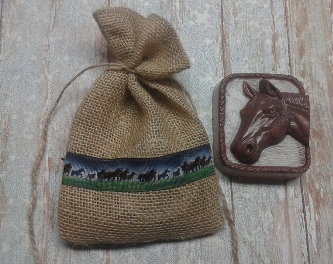 Horse Soap, In The Saddle , Leather Scented Soap Gift Set, Glycerin Soap, Burlap Gift Bag, Men's Soap, Rustic Gift Set, Horse Lovers