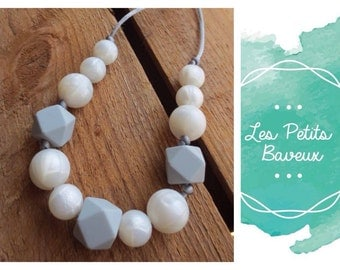 Teething necklace silicone beads pearl-grey mom baby