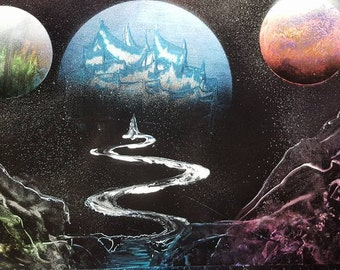 Surreal planetary spray paint poster