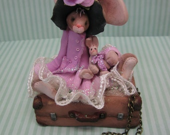 FREE SHIPPING! Polymer Clay Art Easter Bunny Rabbit on Suitcase Sculpture
