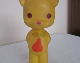 Vintage Rubber Toy 1970s, Soft Yellow Rubber Bear Toy, Baby Bath Toy, Retro Rubber Doll, Collectible Toy, Animal Toy, Nursery Decor