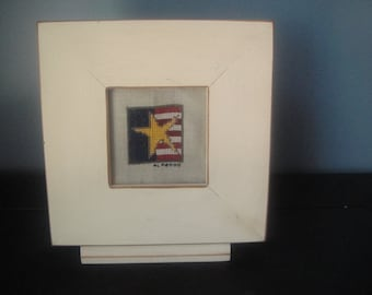 Handmade framed cross stitch flag