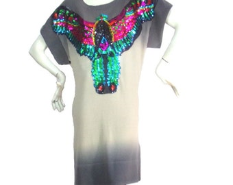 gray dress beige Kustom 4U AS Sequins phoenix Size T2 Promod