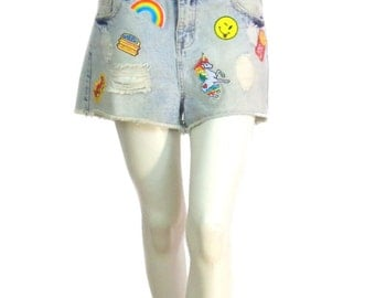 clear blue jean shorts Kustom Designs 4U Patches Size 38