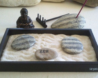 KARESANSUI, mini ZEN garden with stones and incensiario musical decoration