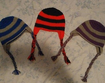 2 tone crochet hats with earflap. Fits 2-6years.