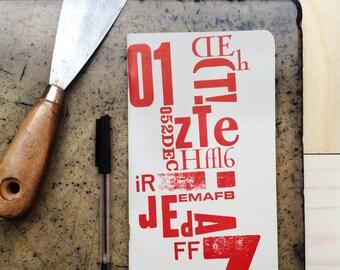 Quaderno Letterpress Rosso&Azzurro / RedAndLightBlue Letterpress Notebook