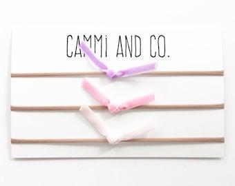 Velvet knot baby bow headband (you choose colors)